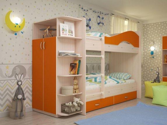 Двухъярусная кровать Мая с ящиками и шкафом дуб млечный-оранжевый
