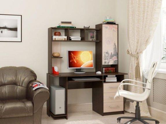 Компьютерный стол СВ-6 Британия Дуб Венге-Дуб Млечный