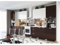 Кухня Модерн Горький Шоколад Белый Глянец