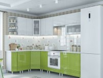 Кухня Волна Олива Белый глянец