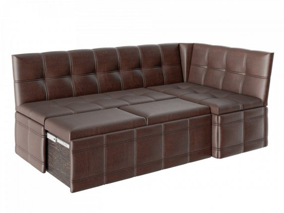 Скамья угловая Квадро тип 1 со спальным местом кожзам коричневый